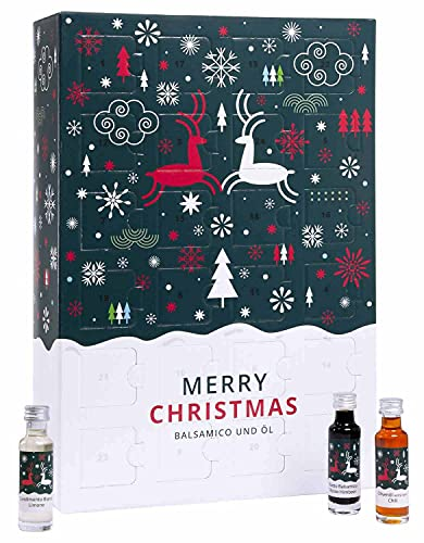 Balsam-Essig & Olivenöl Adventskalender - 24 verschiedene Sorten in Glas-Fläschchen
