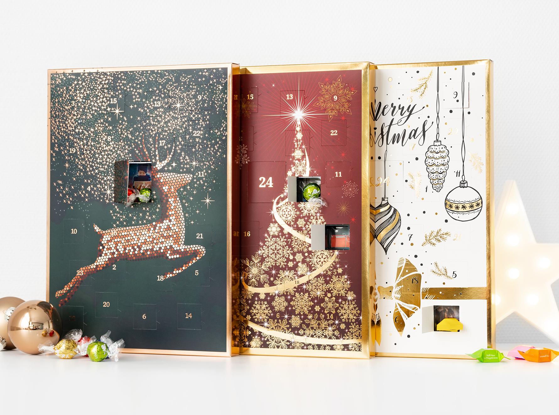 Foto Adventskalender Design mit Schokolade: Ritter Sport oder Lindt Lindor