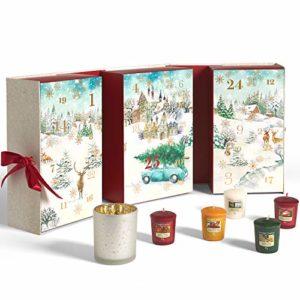 Yankee Candle Adventskalender 2020 in Buchform mit 12 Votivkerzen, 12 Teelichter + Votivkerzenhalter